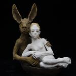 la fille et le lievre en bateau 2019 Terracotta ca. 35 x 42 x 18 cm