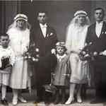 Hochzeit von Gertrud Bräuer und Carl Marx, sowie Milda Bräuer und Karl Kurt Neitsch am 25.09.1927 in Grimma. v.l.n.r.