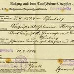 Geburtsregisterauszug von Auguste Wilhelmine Heinze aus dem Kirchenbuch von Cunewalde im Jahr 1869.