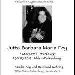 Jutta Fey, verstorben am 30.05.2013