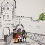 325 Die bunten Ritter sind da!, Fineliner Marker und Filzstifte auf Papier, Rahim Aziz, 42 x 30 cm