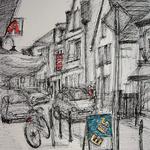 326 Eiszeit, Fineliner  Filzstifte auf Papier, Rahim Aziz, 42 x 30 cm