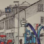 328 Mario,wo sind unsere Sparzinsen?, Fineliner Marker und Filzstifte auf Papier, Rahim Aziz, 42 x 30 cm