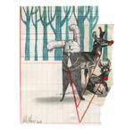 Cordero con piel de oso, 2013. 18 x 14,5 cm. Técnica mixta sobre papel.