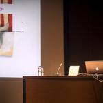 Conferencia de Julio Antonio Blasco, Sr. López. ILUSTRAFIC. Sala Alfons Roig de la Facultad de Bellas Artes de Valencia.