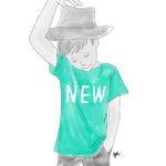 NewのTシャツを着た男の子のイラスト