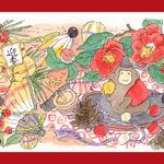 年賀状・申年のイラストー水彩