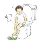 子どもがトイレに入っているイラスト