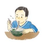 うどんを食べている子供のイラスト