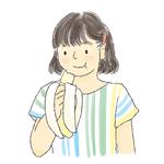 バナナを食べている子供のイラスト