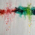 """""""Gedanken"""" -  Acryl, Tusche, Strukturmasse, 40 x 40 x 2 cm"""