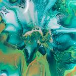 Blume, Acryl, Resin, Pouring auf Holz, Untersetzer 11 x 11 cm