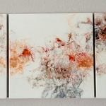 Ohne Titel, Acryl, Resin, Pouring auf Holz, 3 mal 45 x 45 x 4 cm