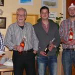 Hier alle Jubilare im Überblick. v.r.n.l. Marco Lipka, Jonas Hudel, Valentin Hudel und Gerhard Graf