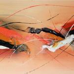 Orange Liner, 140 x 40 cm, Acryl auf Leinwand - Verkauft