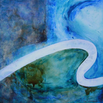 """ALEX'SANDRA, """"électrO #2-50/2"""", Techniques mixtes sur toile, 50x50 cm, oeuvre disponible à l'emprunt"""