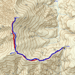 GPSトラックログ(赤=登り・青=スキー)