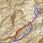 GPSトラックログ(1日目青色・2日目赤色)