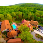 Drone photo of Main Lodge, Pool area and Guesthouse