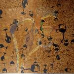 Grand baiser - perles de verre et peinture sur liège - 150 x 185 cm - 1989