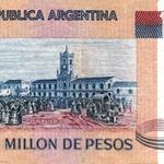 La misma escena se retomaría en 1980 para el reverso de los billetes de 1.000.000 de pesos ley 18.188