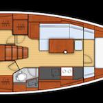 Oceanis 38 Yachtriss mit 3 Kabinen und 1 Nasszelle