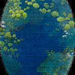 あしもとのそら ー群青ー canvas,oil,soil 18×12cm