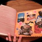 まえにParisで撮影した写真と花の写真を加工したパーツでコラージュしてみました、前の見返し部分です。