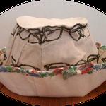 これは、薄手の頒布にリネン系のメガネ柄のウチ布を付けたカジュアルな帽子です。