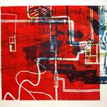 An diesem Ort 4, Monothypie, Linolschnitt, Litho, 39 x 56 cm, Unikat aus einer Serie; Micha Hartmann, Esslingen