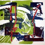 In 162 km haben sie das Ziel erreicht, Lithographie, 56 x 78 cm, 2014, Auflage 7; Micha Hartmann, Esslingen