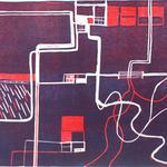 An diesem Ort 1, Linolschnitt, 56 x 78 cm, Auflage 3, 2016; Micha Hartmann, Esslingen