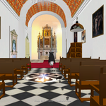 "The student selects a tour and follows the footsteps of the Founder. In this case, it is to the Chapel ""La Bordadita"" where the founder gives the student instructions for a scavenger hunt to find items of historical significance in the chapel."