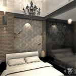 Шикарный интерьер спальни от частного дизайнера, состаренные обои, крипич на стенах, светлая кровать, люстра арт деко