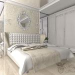 Проект квартиры в краногорске, частный дизайнер Анастасия Корябкина, кристаллы в свете, зеркало в раме, глянец натяжного потолка