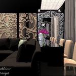 Частный дизайнер как автор проекта в стиле арт деко, барная стойка черного цвета, стеновые 3-Д панели