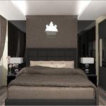 Интерьер спальни для холостяка в темных тонах в стиле арт деко от частного дизайнера