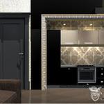Кухня в стиле арт деко от частного дизайнера интерьера Анастасии. Кухня в нише в багетной рамой, золото в отделке интерьера