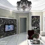 Гостиная в стиле арт деко от частного дизайнера архитектора, домашний кионтеатр