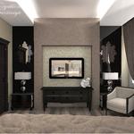 Домашний кинотеатр в спальне в стиле арт деко, автор проекта частный дизайнер Анастасия Корябкина