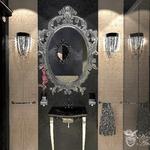 Дизайн интерьера ванной комнаты в стиле АРт деко, частный дизайнер. Зеркало в багетной раме, шикарное зеркало