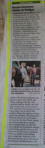 Zeitungsartikel aus Wenigumstadt, erschienen durch Gerhard Baar