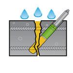 Skizze Riss in Betonteil mit Injektor