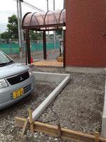 教会駐車場からのバリアフリー・スロープ部分のコンクリート工事。