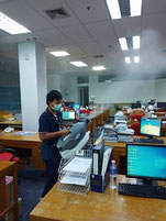 Sanitise all surfaces in office