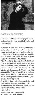 Goethe war ein Türke BETRIFFT 1/93 Die Ausländerbeauftragte des Landes Niedersachsen