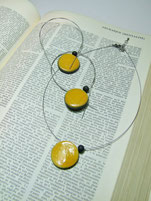 perles en céramique raku jaune