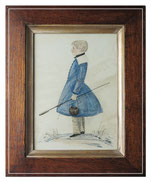 Naive folk art watercolor of a boy in a frock coat and his fishing gear