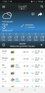 Bild meiner Wetter App Meteored Pro