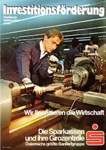 Investitionsförderung. Fachleute leisten mehr. Wir finanzieren die Wirtschaft. Die Sparkassen und ihre Girozentrale (Plakat DinA4 um 1973).